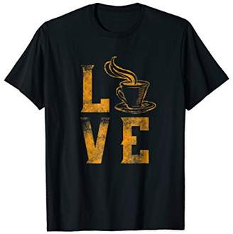 I Love Coffee Tea T Shirt Gifts Cup Of Hot Gold Drink