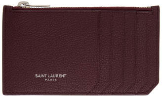 Saint Laurent Red Zipped Fragments Card Holder