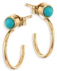 Zoe Chicco Turquoise& 14K Yellow Gold Thin Huggie Hoop Earrings