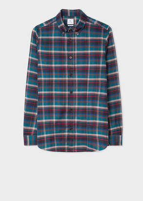Paul Smith Men's Tailored-Fit Teal And Black Check Cotton Shirt