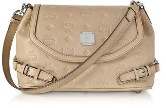 MCM Beige Signature Monogrammed Leather Small Crossbody Bag