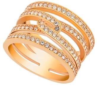 Swarovski Rose Gold Plated Embellished Crystal Pave Ring
