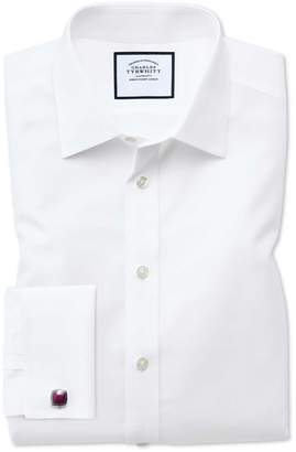 Extra Slim Fit Non-Iron Poplin White Cotton Dress Shirt French Cuff Size 14.5/32 by Charles Tyrwhitt