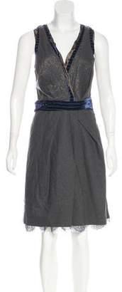 Nina Ricci Velvet-Trimmed Wool Dress