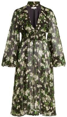 Caroline Constas - Syris Floral Print Silk Chiffon Dress - Womens - Black Print