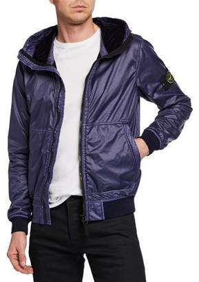 Stone Island Men's Zip-Front Hooded Jacket
