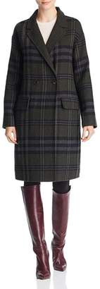Bernardo Double-Breasted Plaid Coat