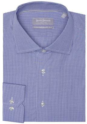 Hickey Freeman Two Color Mini Check Long Sleeve Contemporary Fit Shirt