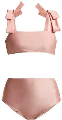 Adriana Degreas Fiore Solis Bow Embellished Bikini - Womens - Light Pink