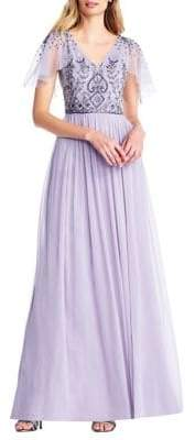 Adrianna Papell Beaded Long Chiffon Dress