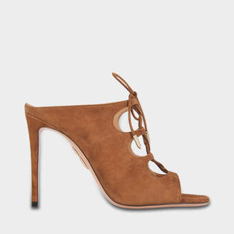Aquazzura Flirt Mules 105 Shoes in Hazelnut Suede