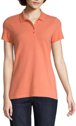 ST. JOHN'S BAY Womens Collar Neck Short Sleeve Knit Polo Shirt