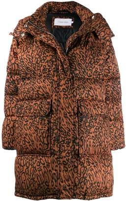 Calvin Klein leopard print parka coat