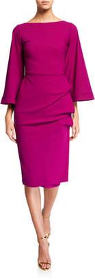 Chiara Boni Cassandre Bateau-Neck Flare-Sleeve Shirred-Skirt Dress