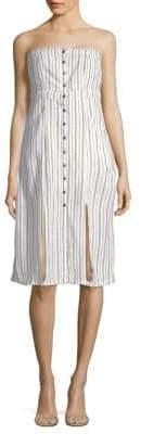 Saks Fifth Avenue RED Bianca Striped Linen-Blend Strapless Dress