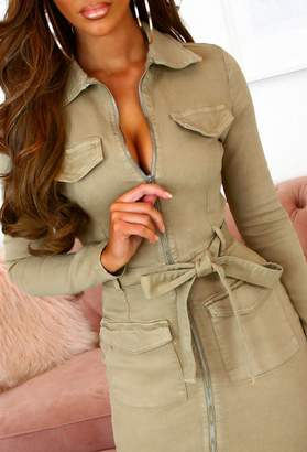 Pink Boutique Layla Camel Stretchy Zip Front Denim Long Sleeve Mini Dress