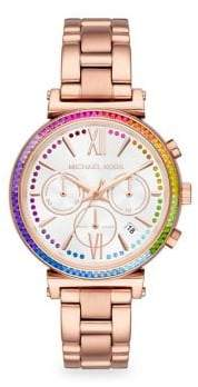 Michael Kors Sofie Rose Goldtone Stainless Steel Chronograph Watch