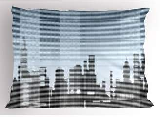 Digital Pillow Sham City Skyline with Futuristic Computer Art Effects and Dot Generic Illustration, Decorative Standard Queen Size Printed Pillowcase, 30 X 20 Inches, Baby Blue Black, by Ambesonne