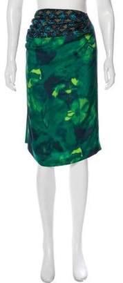 Dries Van Noten Printed Silk Skirt Green Printed Silk Skirt