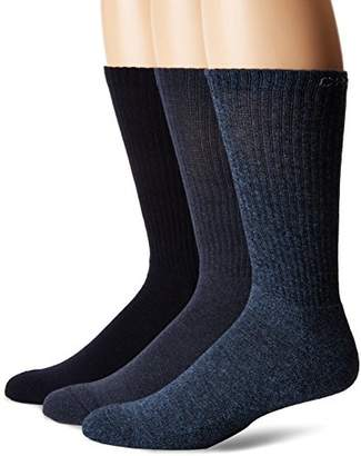Chaps Men's Assorted Solid Mock Rib Casual Crew Socks (3 Pack)