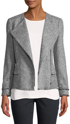 Lafayette 148 New York Owen Tweed Zip-Front Moto Jacket
