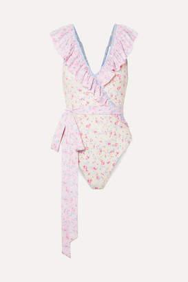 LoveShackFancy Gaga Belted Ruffled Printed Swimsuit - Baby pink