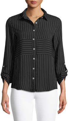 Neiman Marcus Striped Button-Front Blouse with Roll-Up Sleeves