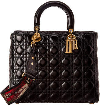 Christian Dior Large Lady Quilted Cannage Leather Tote