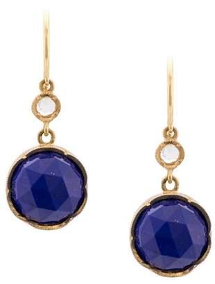 Irene Neuwirth 18kt yellow gold Round Rose Cut Lapis And Diamond earrings