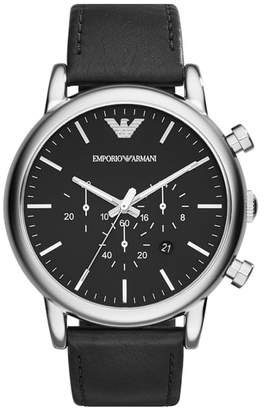 Emporio Armani Chronograph Leather Strap Watch, 46mm