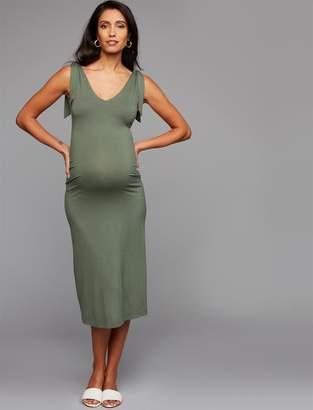 dae8bccce3 A Pea in the Pod Tie-Strap Midi Maternity Dress