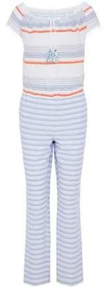 Lemlem Fringed Striped Embroidered Cotton-Blend Gauze Jumpsuit