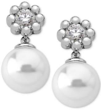 Majorica Sterling Silver Crystal Flower & Imitation Pearl Drop Earrings