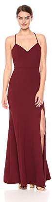 Jenny Yoo Women's Reese Spaghetti Strap Fitted Crepe Gown