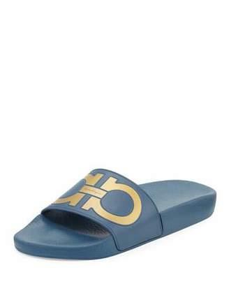 Salvatore Ferragamo Groove Gancini Flat Slide Sandal, Pacific/Oro $195 thestylecure.com
