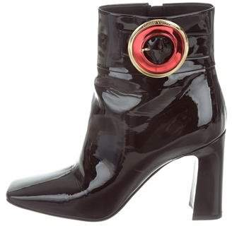 Louis Vuitton Square-Toe Patent Leather Ankle Boots