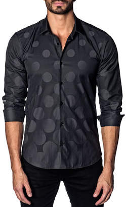 Jared Lang Men's Modern-Fit Graduated Polka-Dot Long-Sleeve Shirt