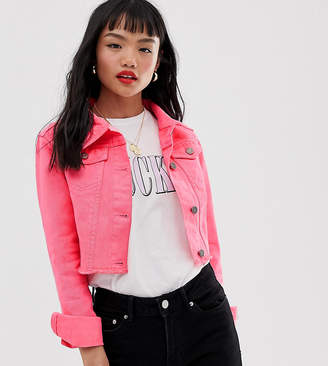 Brave Soul Petite cropped neon wash denim jacket