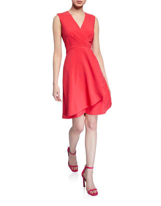 Taylor Pleated Faux-Wrap A-Line Dress