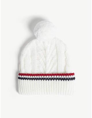 a3dfb1b0a95 Thom Browne Pom pom cable-knit merino wool beanie