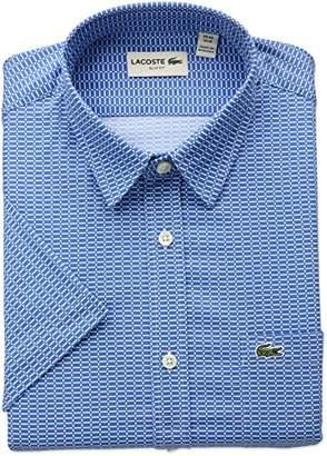 Lacoste Men's Short Sleeve Printed Poplin Slim Fit Woven Shirt