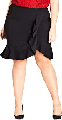 City Chic Ruffle Faux Wrap Skirt