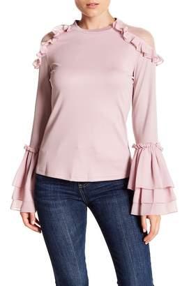 Gracia Dotted Lace Ruffle Blouse