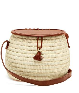 Sensi STUDIO Leather and toquilla-straw basket bag