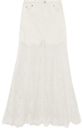 McQ Alexander McQueen - Denim And Lace Skirt - Ivory $760 thestylecure.com