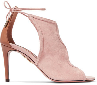Aquazzura - Nomad Cutout Suede And Leather Sandals - Baby pink $695 thestylecure.com