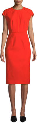 Narciso Rodriguez Jewel-Neck Cap-Sleeve Wool Twill Midi Dress