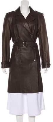 Giorgio Armani Leather Knee-Length Coat