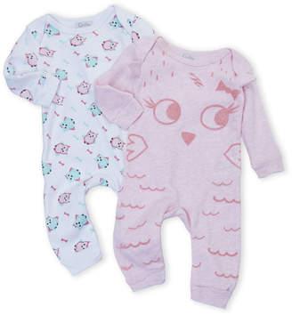 Quiltex (Newborn Girls) Two-Pack Owl Romper Set