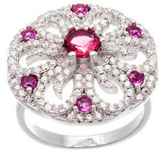 Lord & Taylor White and Fuchsia Cubic Zirconia Flower Ring $100 thestylecure.com